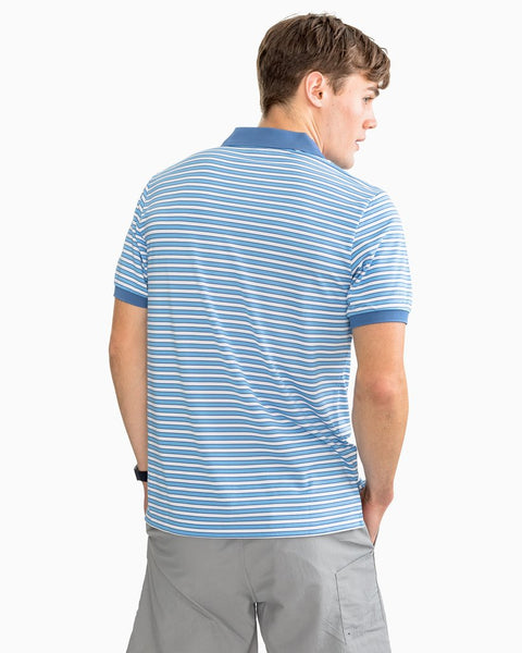 Southern Tide Jack Striped Performance Pique Polo-Ocean Channel