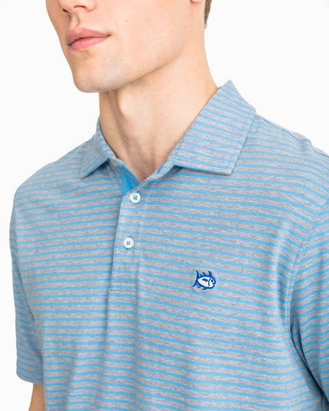 Southern Tide Heathered Channel Marker Stripe Polo-Tsunami Grey