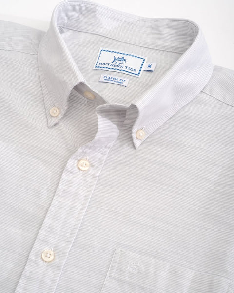 Southern Tide Seven Mile Beach SS Sport Shirt-Seagull Grey