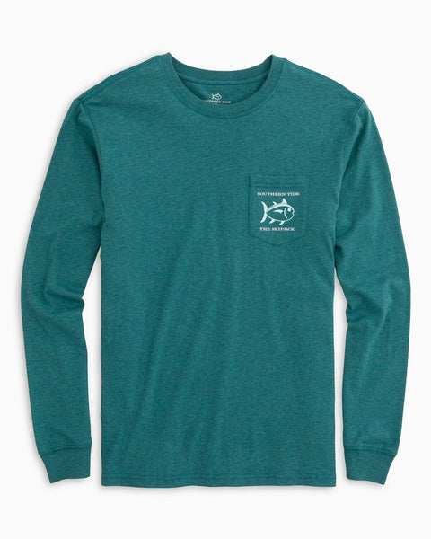 Southern Tide Blue Marlin Long Sleeve T-Shirt-Heather Dark Teal