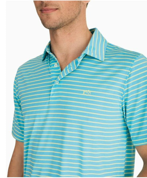 Southern Tide Driver Striped Performance Polo-Shoreline Blue
