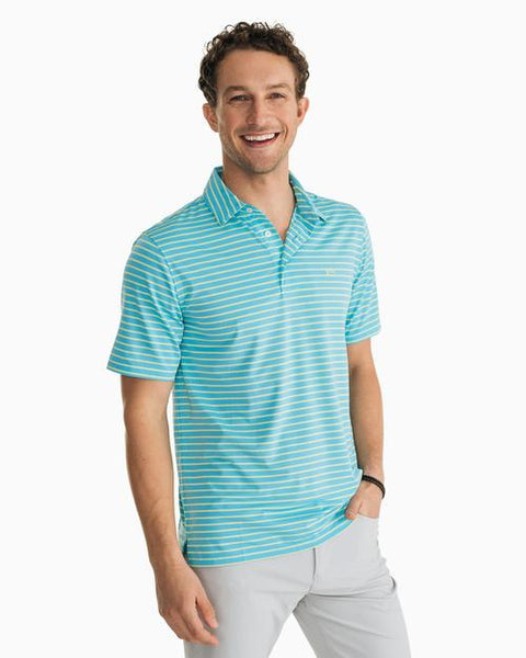 Southern Tide Driver Striped Performance Polo has spot on styling and made for the active lifestyle. Shop Bennetts Clothing for name brand menswear with prices you will love.