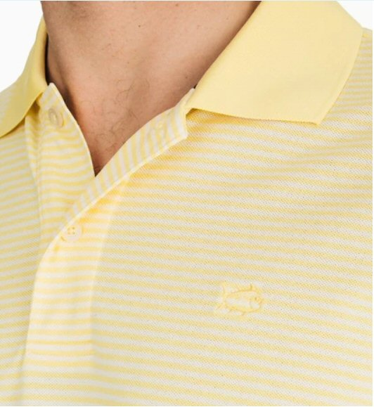 Southern Tide Roster Stripe Performance Polo-Sunshine