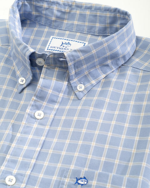 Southern Tide Rig Check Button Down Sport Shirt-Sky Blue