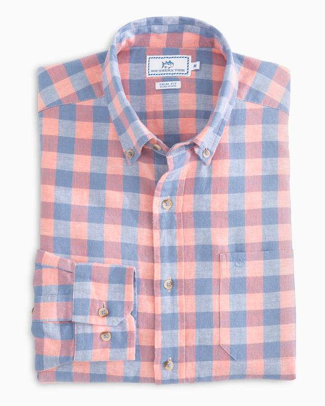 Southern Tide Buffalo Check Linen Sport Shirt -Shop Bennetts Clothing and receive same day shipping