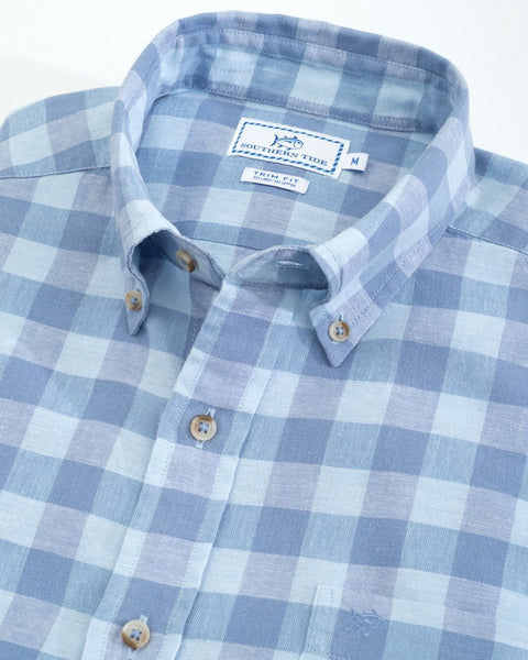 Southern Tide River Street Buffalo Check Sport Shirt-Sky Blue