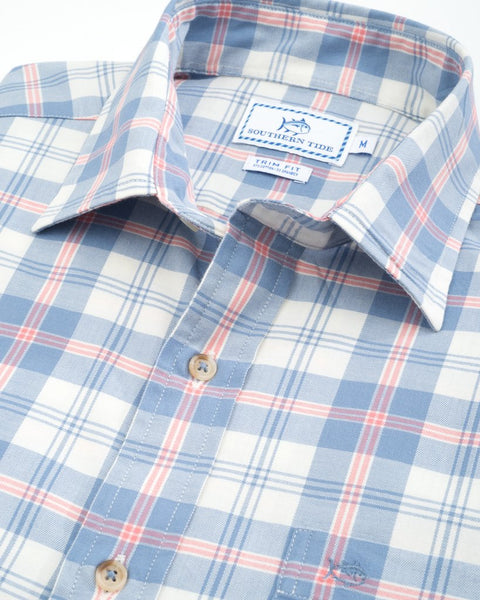 Southern Tide Oak Harbor Plaid Sport Shirt-Squall Grey