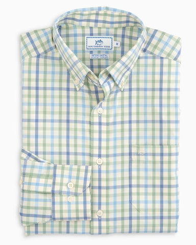 Southern Tide River Course Plaid Performance Shirt-Bay Leaf Green