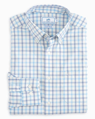 Southern Tide River Course Plaid Performance Shirt-Colony Blue