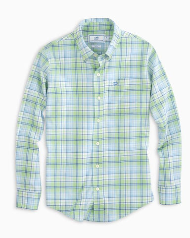Southern Tide Boys Surfscoter Plaid Sport Shirt-Sage Green