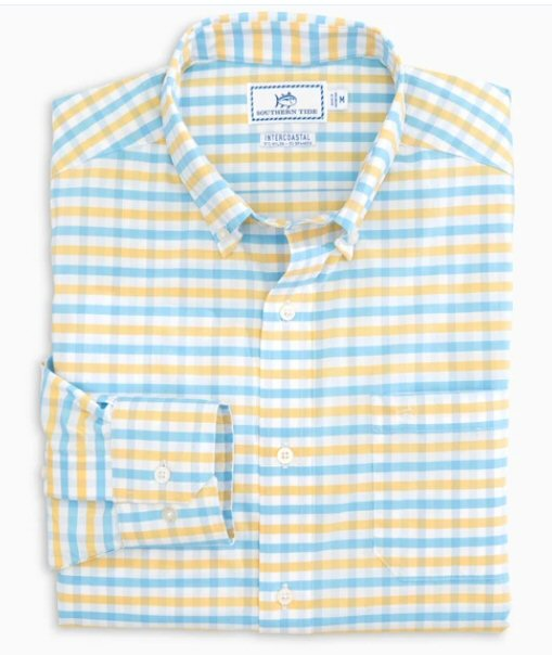 Southern Tide Fuskie Performance Tattersall button up has spot on styling and made for the active lifestyle. Shop Bennetts Clothing for a large selection of name brand menswear