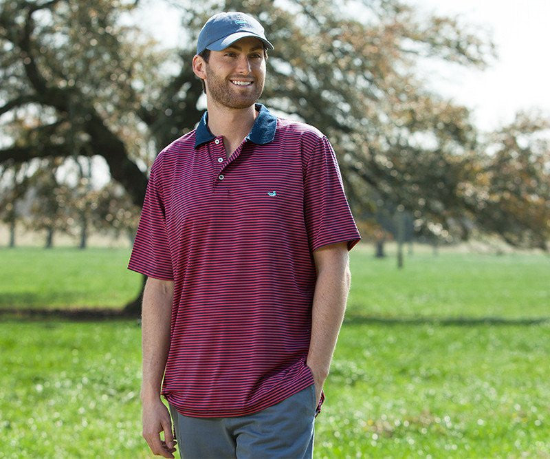 Southern Marsh Bermuda Stripe Performance Polo-Pink-Navy
