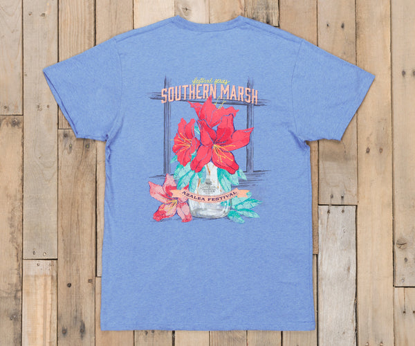 Southern Marsh Azalea Festival Short Sleeve T-Shirt-Washed Blue Heather