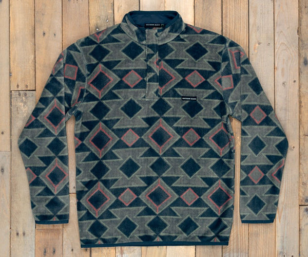 Southern Marsh Pueblo Aztec Pullover-Navy-Burnt Taupe