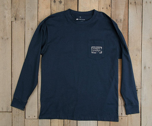 Southern Marsh Authentic Long Sleeve T-Shirt-Navy Blue