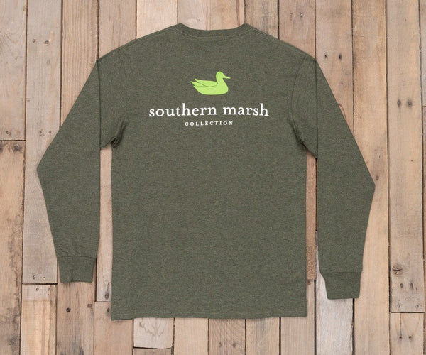 Southern Marsh Authentic Long Sleeve T-Shirt-Washed Dark Green - Bennett's Clothing - 1