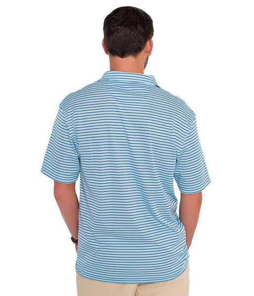 Southern Shirt Company Halstead Stripe Performance Polo-Blue Bell