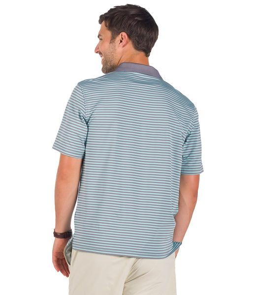 Southern Shirt Company Bryant Stripe Performance Polo-Seafoam Grey