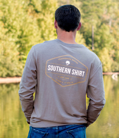 Southern Shirt Company Rainbow Trout Badge Tee-Sage Grey