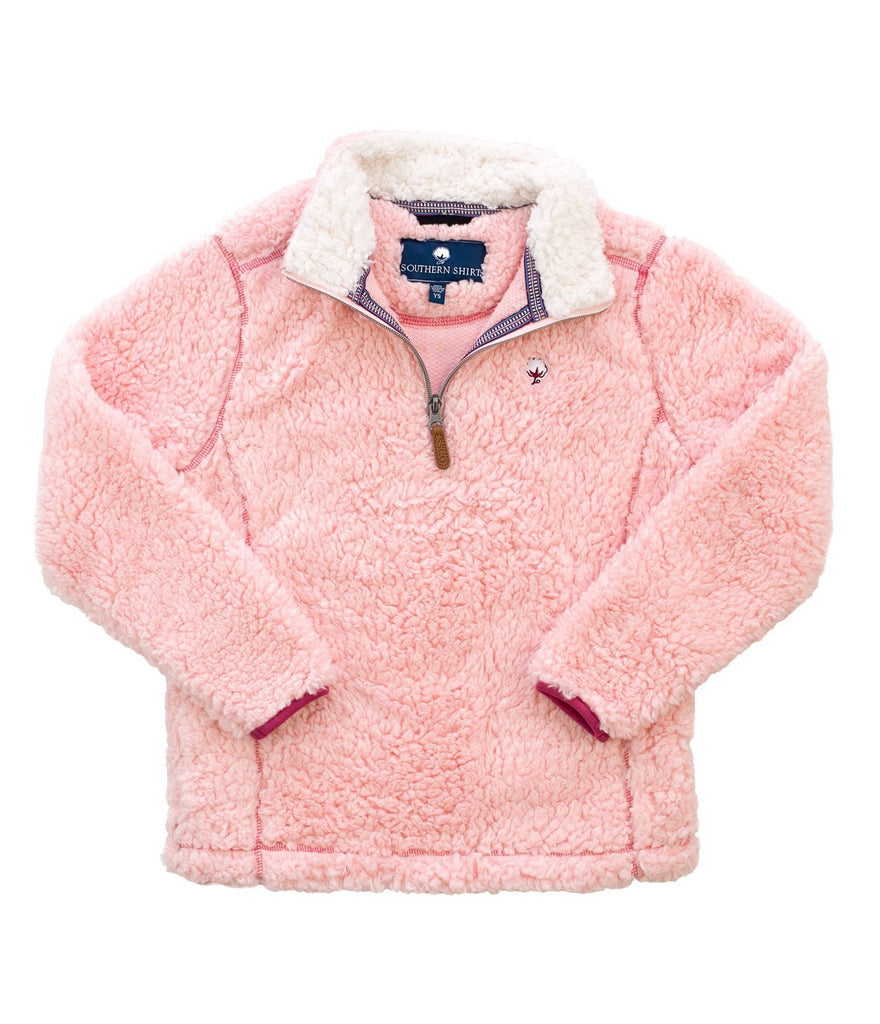 Southern Shirt Company Youth Sherpa Pullover with Pockets-English Rose