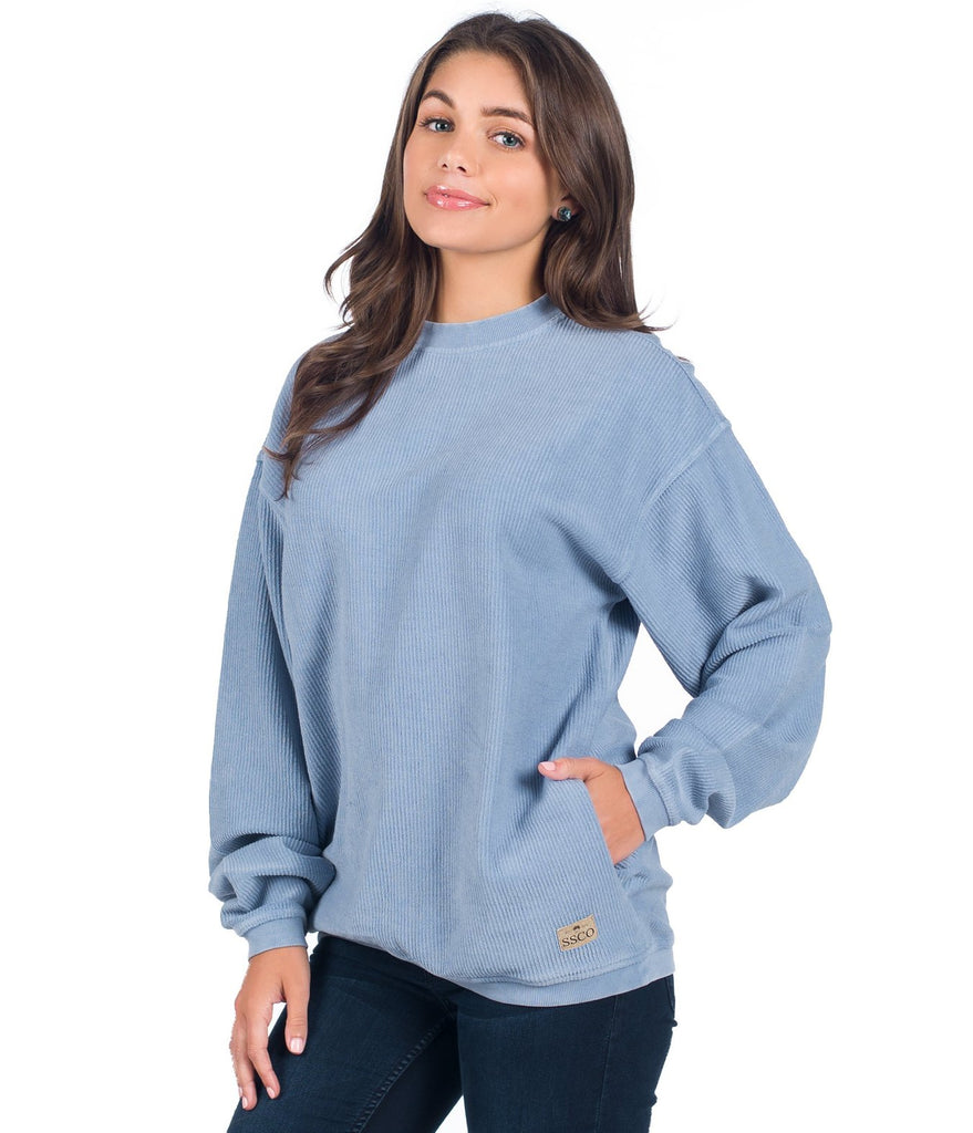 Southern Shirt Co. Corduroy Sweatshirt Pullover-Faded Denim