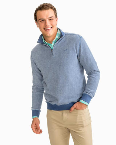 Southern Tide Hartnett 1/4 Zip Cotton Pullover-Seven Seas