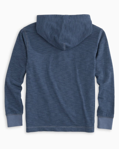 Southern Tide Boys Gulf Stream Micro Stripe Hoodie-Light Indigo