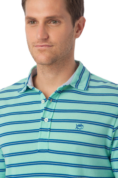 Southern Tide Beachside Stripe Polo-Aqua - Bennett's Clothing - 2