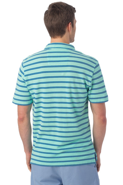 Southern Tide Beachside Stripe Polo-Aqua - Bennett's Clothing - 3