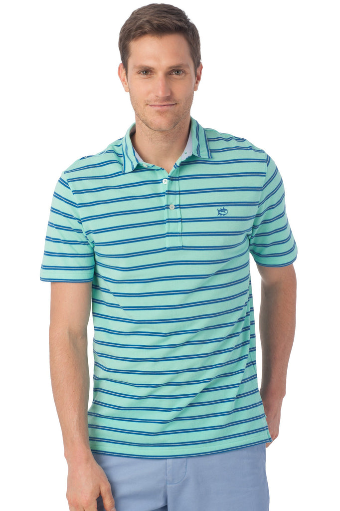 Southern Tide Beachside Stripe Polo-Aqua - Bennett's Clothing - 1