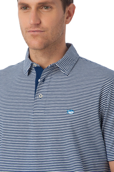 Southern Tide Striped Channel Marker Polo-Blue Depths - Bennett's Clothing - 2