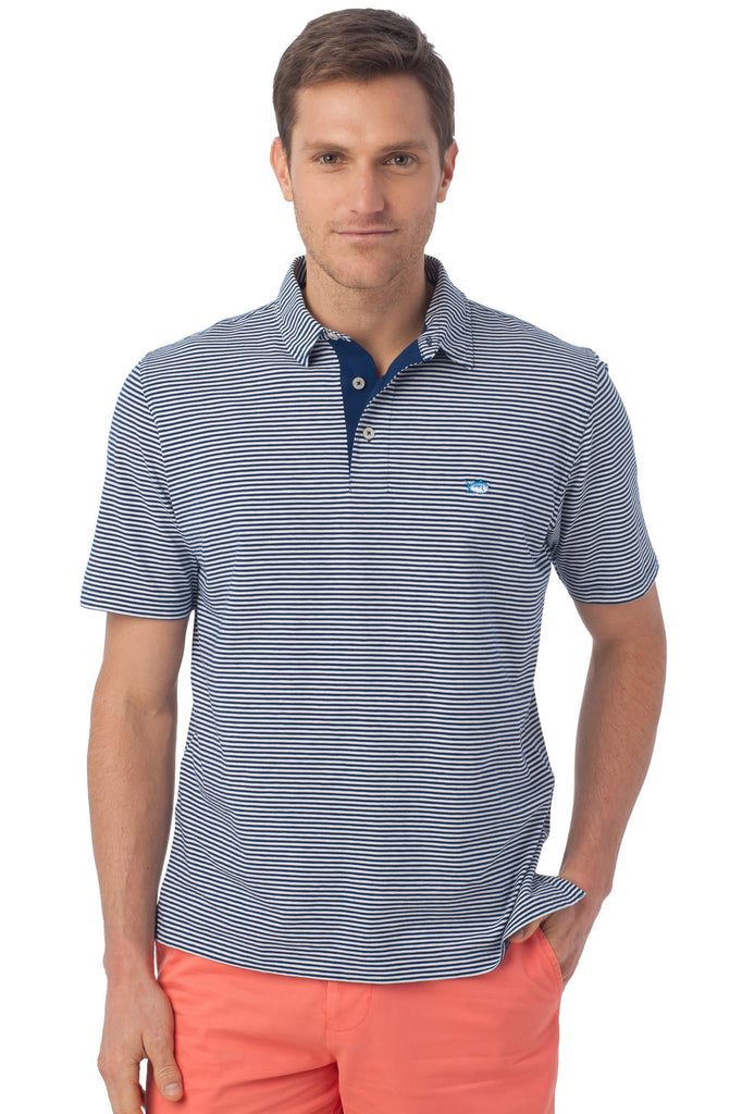 Southern Tide Striped Channel Marker Polo-Blue Depths - Bennett's Clothing - 1