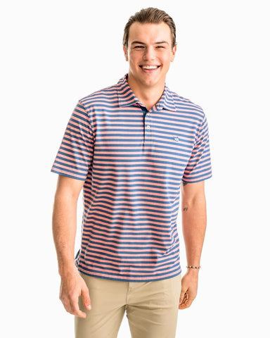 Southern Tide Heathered Channel Marker Stripe Polo-Shell Pink