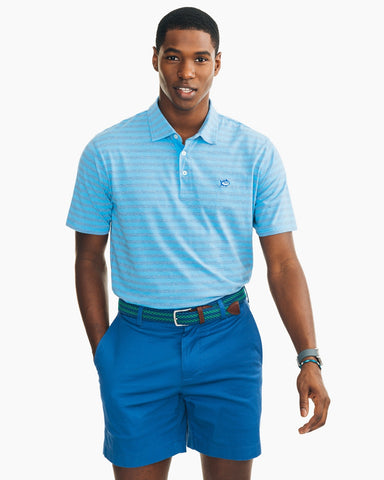 Southern Tide Heathered Channel Marker Stripe Polo-Squall Grey