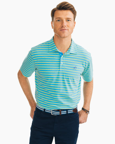 Southern Tide Heathered Channel Marker Stripe Polo-Summer Green