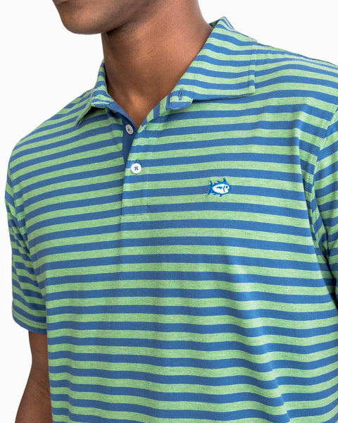 Southern Tide Heathered Channel Marker Stripe Polo-Bay Leaf Green