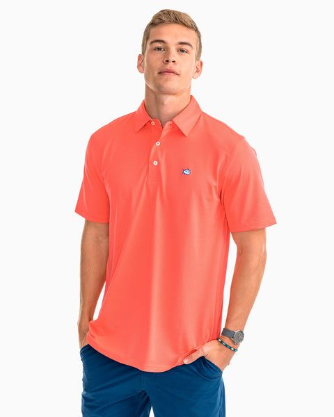Southern Tide Roster Performance Pique Polo-Sunset Coral