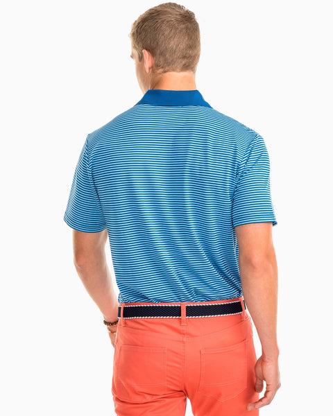 Southern Tide Fort Charlotte Performance Stripe Polo-Blue Lake