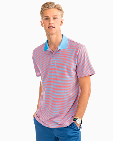 Southern Tide Fort Charlotte Performance Stripe Polo-Sunset Coral
