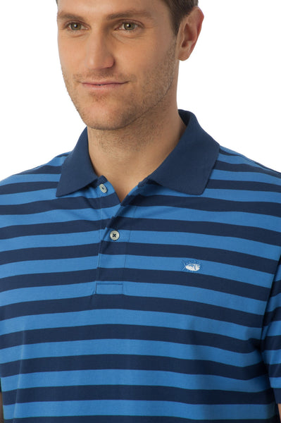 Southern Tide Stripe Skipjack Polo-Yacht Blue - Bennett's Clothing - 2
