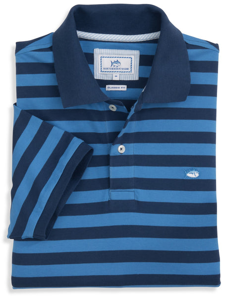 Southern Tide Stripe Skipjack Polo-Yacht Blue - Bennett's Clothing - 1
