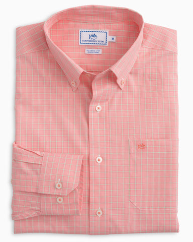 Southern Tide Buck Island Check Sport Shirt-Coral