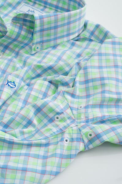 Southern Tide Market Square Gingham Performance Shirt-Lime