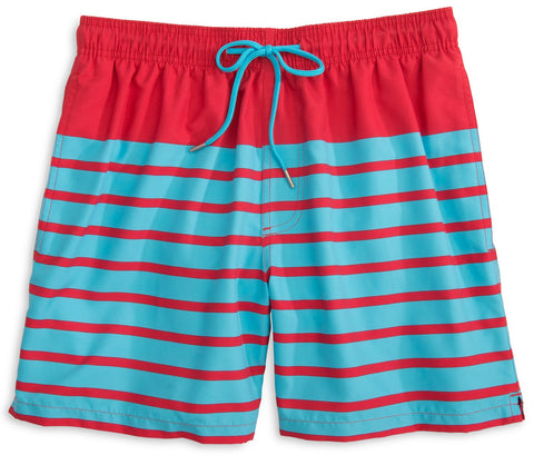 Southern Tide For Shore Stripe Swim Trunks-Channel Marker Red - Bennett's Clothing - 1