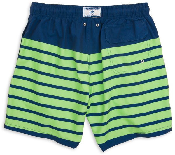 Southern Tide For Shore Stripe Swim Trunks-Yacht Blue/Island Green - Bennett's Clothing - 2