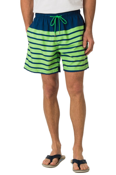 Southern Tide For Shore Stripe Swim Trunks-Yacht Blue/Island Green - Bennett's Clothing - 3