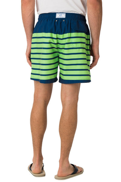 Southern Tide For Shore Stripe Swim Trunks-Yacht Blue/Island Green - Bennett's Clothing - 4