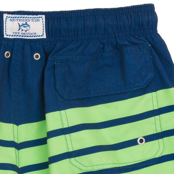 Southern Tide For Shore Stripe Swim Trunks-Yacht Blue/Island Green - Bennett's Clothing - 5