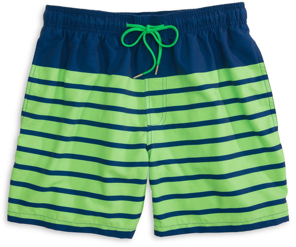 Southern Tide For Shore Stripe Swim Trunks-Yacht Blue/Island Green - Bennett's Clothing - 1