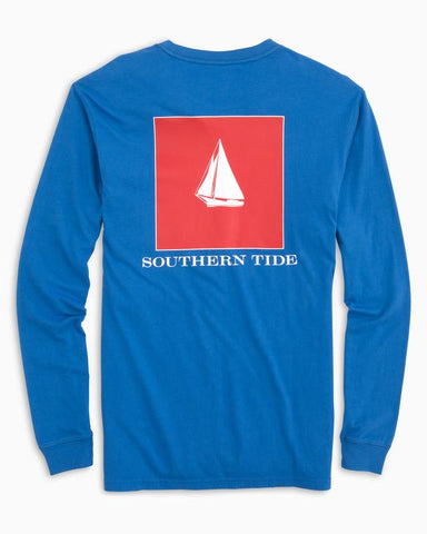 Southern Tide Nautical Flag Skipjack Long Sleeve T-Shirt-Colbalt Blue